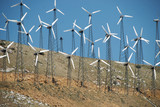 Array of small windmills on a California HIllside