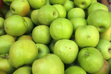 raw green apple heap