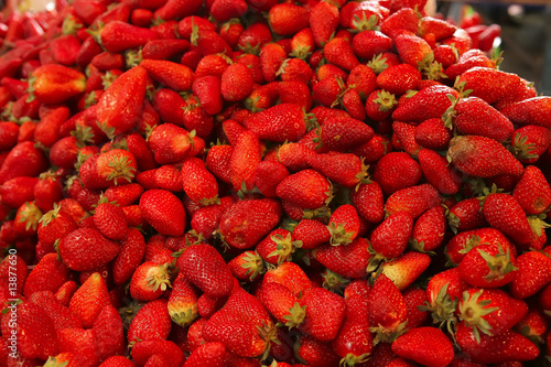 raw strawberry heap