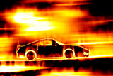 Fiery Blazing Sports Car poster