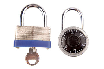 Two locks isolated on white background