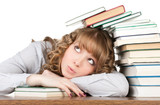 Graceful female student with books looking at camera poster