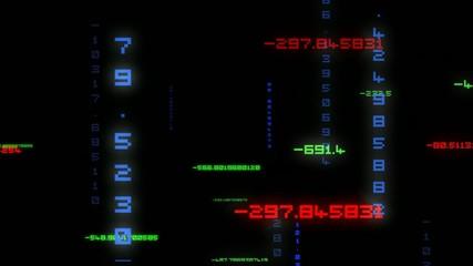 Animation matrice nombres fond noir