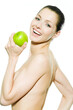 Attraktive junge Frau mit grünem Apfel