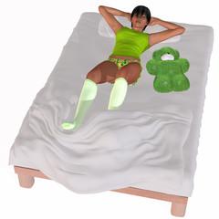 Bettzeit - 3D Figur auf einem Bett