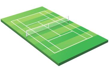 Terrain de tennis sur gazon 3D (détouré)