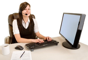 Smiling Businesswoman Wearing Headset and Looking at Camera