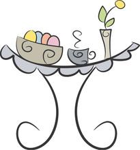 Easter Breakfast (II): Laid stół z jaj, kubek, wazon