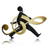Fototapety Mann trägt goldenen Notenschlüssel
