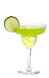 lime margarita with a slice of lime