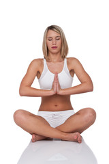 Fitness series - Blond woman in yoga position