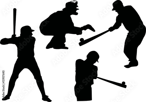 four silhouettes of baseball players