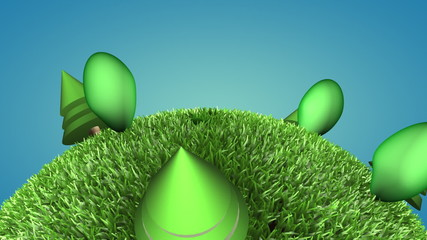 Closeup of 3d cartoon green planet with alpha mate, loopable