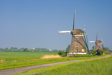 Two dutch watermills in polder landscape