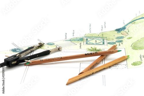 Leinwandbild Motiv Gartenplanung 2