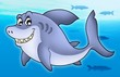 Smiling cartoon shark