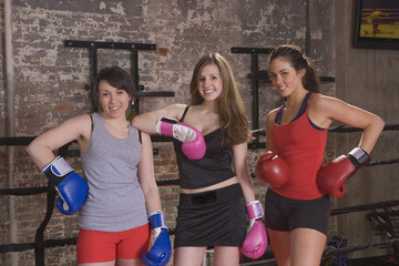 Three young women boxers