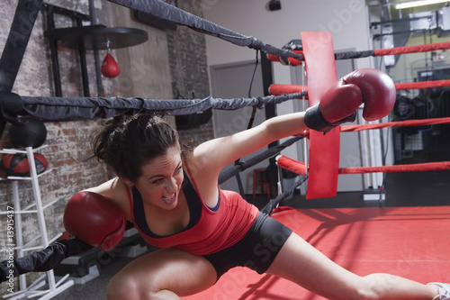 Fighting woman boxer