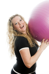 woman with fitness ball yoga pilates fitness exercise
