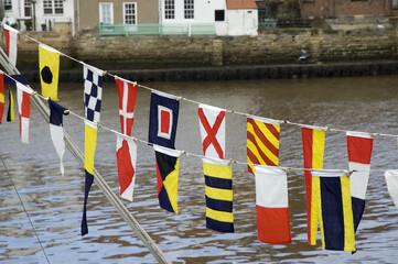 naval flags in harbour