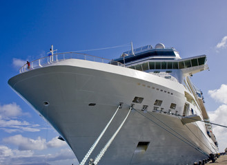 Massive Cruise Ship Tied to Dock