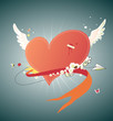 Vector illustration of Cool funky red heart flying in the sky