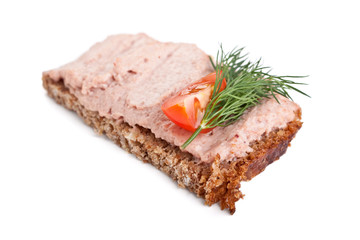 whole wheat bread sandwich with liver pate