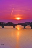 Arno River at sunset Florence Tuscany Italy poster