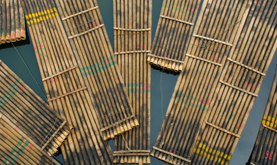 traditional chinese bamboo rafts