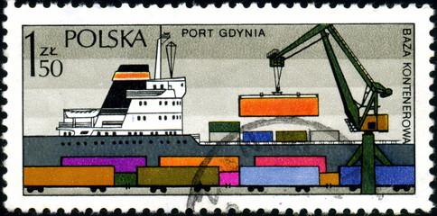 Pologne, Port de Gdynia. Timbre postal.