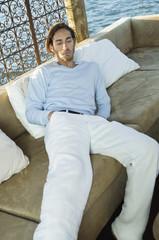 Man resting in a tourist resort