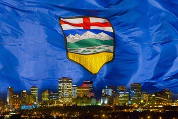Flag of Alberta over Edmonton
