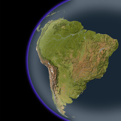 South America from space, shaded relief map.