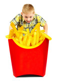 child and fast food. poster