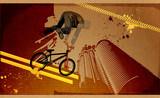 Modern grunge urban graphic design and biker poster