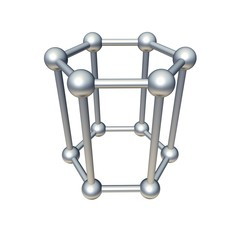 Hexagon model isolated on white. 3d rendered illustration.