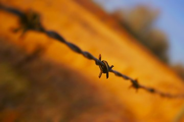Close up of barbed wire fence