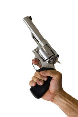44 magnum revolver in hand isolated