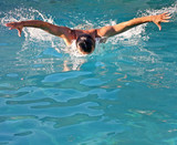 Powerful swimming butterfly style stroke poster