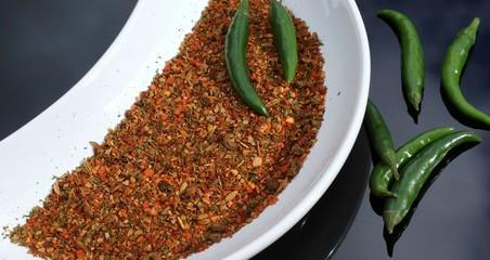 Herbs and green chilli peppers