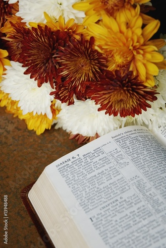 Flowers beside Bible open to Isaiah 6