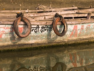 Boat in the water, Varanasi, India..