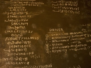 Writing on chalk board