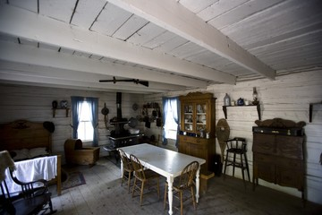 Interior of old fashioned cabin, Fort Edmonton, Alberta, Canada