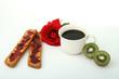 cafe, fruits, tartines et rose