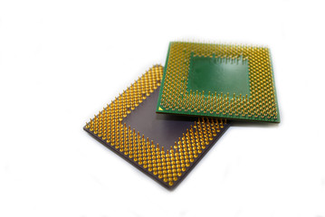 two processors on white background