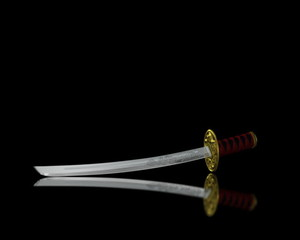 katana (japan sword) fall with mirror and alpha channel