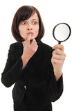 businesswoman investigates using a magnifier poster