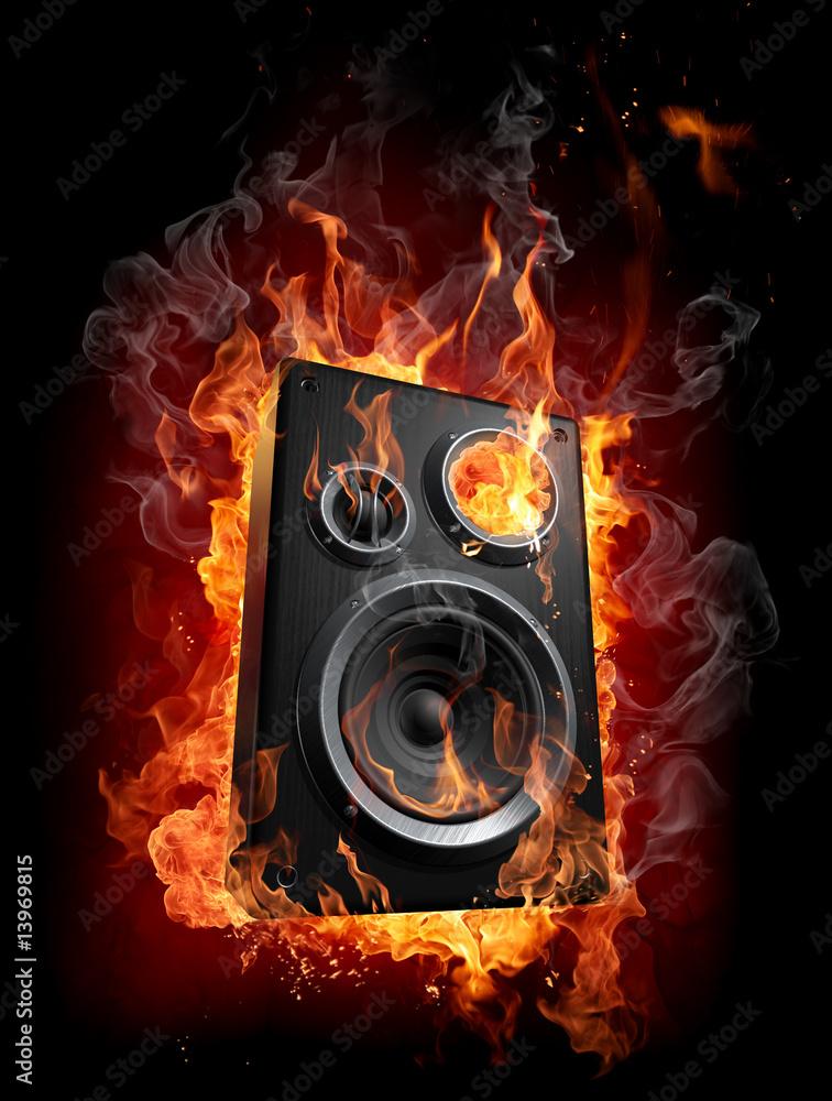 foto auf acrylglas burning speaker nikkel. Black Bedroom Furniture Sets. Home Design Ideas