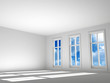 empty room with a sunlight and sky in a window
